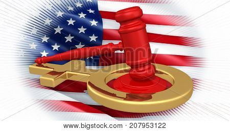 Law Gavel And Female Symbol With An American Flag Concept 3D Illustration