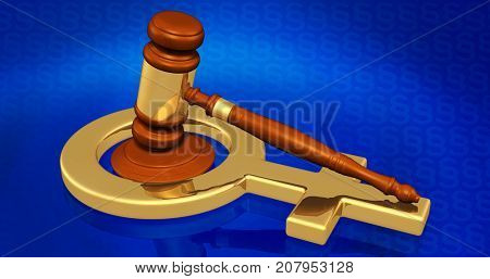 Law Gavel And Female Symbol Concept 3D Illustration