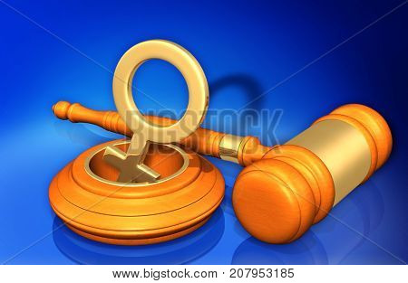 Law Gavel And Female Symbol Falling Down A Hole Concept 3D Illustration