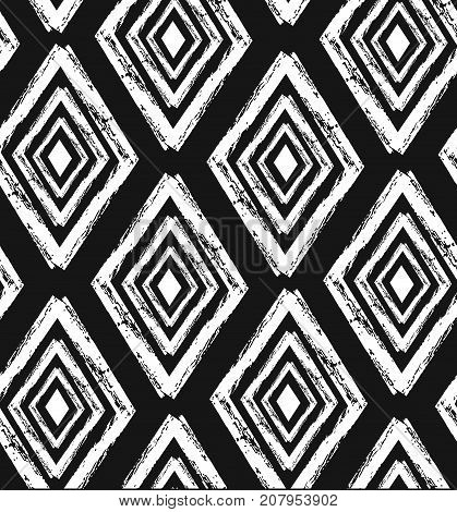 Hand drawn vector abstract rought hand made rhombus seamless pattern in black and white colors.Tribal ethnic ornament decoration.Freehand textures.Unusual universal pattern.