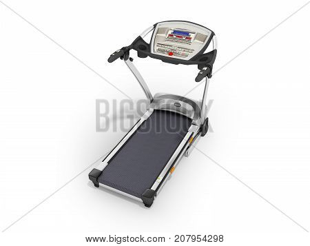 Modern Sports Jogging Track Gray With Black Metal 3D Render On White Background