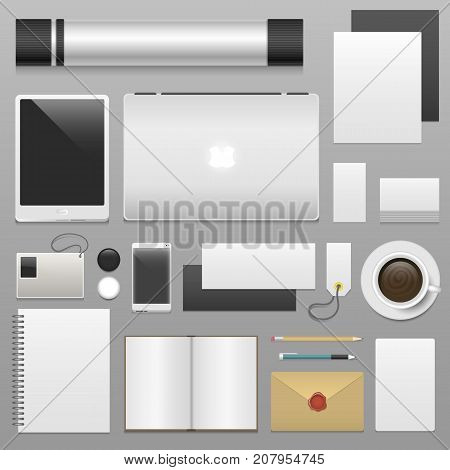 Corporate identity template set business stationery mockup realistic 3d top view vector illustration. Cup of coffee, papaer blanks, letter, folder