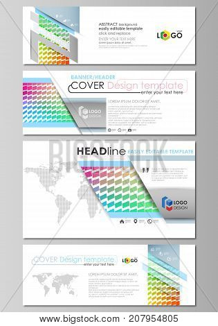 Social media and email headers set, modern banners. Business template. Vector design layout templates in popular sizes. Colorful rectangles, moving dynamic shapes, abstract polygonal style background