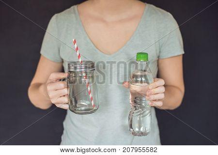 Zero Waste Concept. Use A Plastic Bottle Or Mason Jar. Zero Waste, Green And Conscious Lifestyle Con