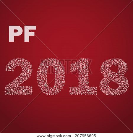 Red Happy New Year Pf 2018 From Little Snowflakes Eps10