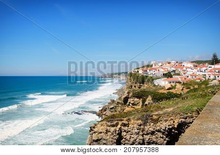 Beautiful coastal view near Azenhas do Mar white village on the cliff Sintra Lisbon Portugal.