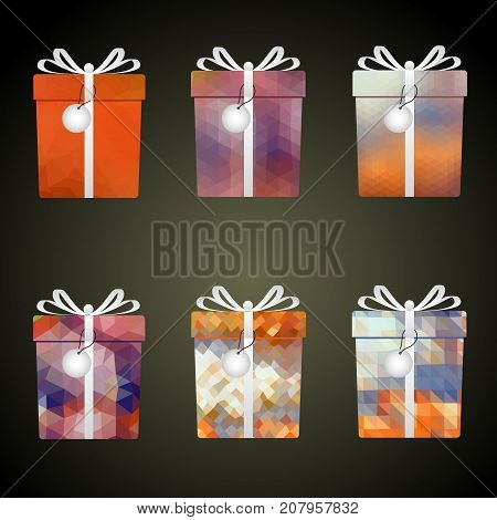 Colorful Mesh Wrapping Paper Gifts With Ribbons And Tags Eps10