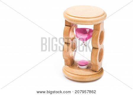 Wooden Retro Hourglass Isolated