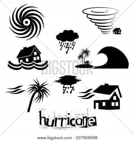 Hurricane Natural Disaster Problem Icons Set Eps10
