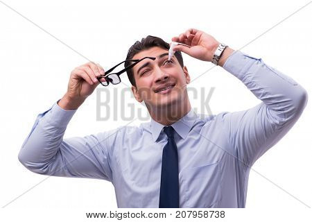Young man in eye care medical concept