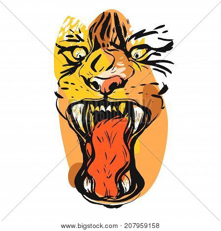 Hand drawn vector abstract graphic drawing of anger tiger face in orange colors isolated on white background.Hand made exotic collage illustration.Wild soul concept.Tigers head isolated.Logo, sign