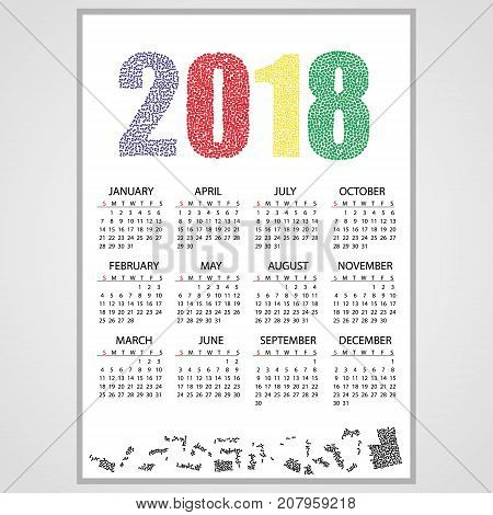 2018 Wall Calendar From Little Numbers Eps10