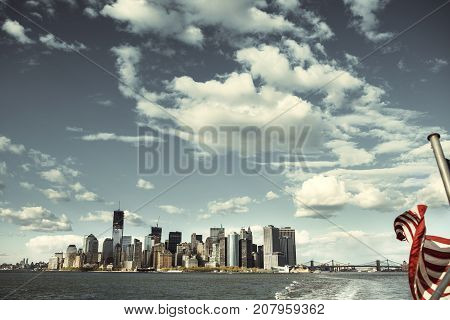 Day View Of The Manhattan Skyline In New York City Seen From The East River In New York City.
