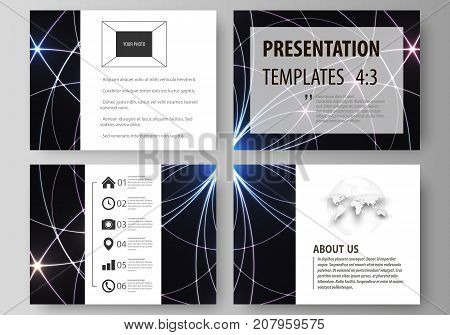 Set of business templates for presentation slides. Easy editable abstract vector layouts in flat design. Sacred geometry, glowing geometrical ornament. Mystical background