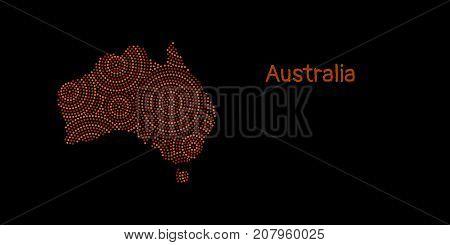 Textured Australia continent in red aboriginal dot art ornament, vector background