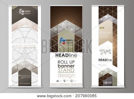 Roll up banner stands, flat design templates, abstract geometric style, corporate vertical vector flyers, flag layouts. Alchemical theme. Fractal art background. Sacred geometry. Mysterious pattern
