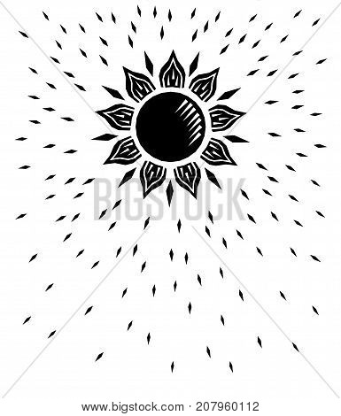Black and white sun woodcut retro engraving, vector illustration