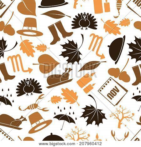 November Month Theme Set Of Icons Seamless Pattern Eps10