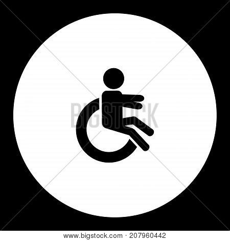 Handicapper On The Wheelchair Simple Black Icon Eps10