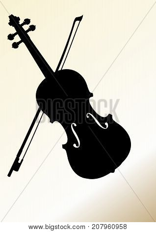 Flyer design template with violin silhouette on isolated on background in old yellow paper style. Place for own message. Vector EPS 10