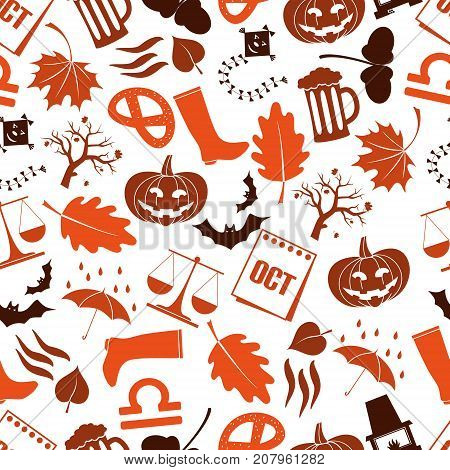 October Month Theme Set Of Icons Seamless Pattern Eps10