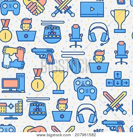 Video game seamless pattern with thin line icons: gamer, computer games, pc, headset, mouse, game controller. Modern vector illustration for banner, web page, print media.