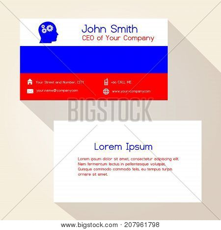 Russia Flag Color Business Card Design Eps10