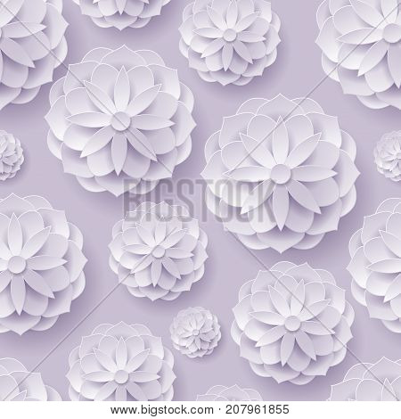 Paper volume flowers background seamless. Paper volume flowers on a lilac-gray background seamless for designers and illustrators. Original template as a vector illustration