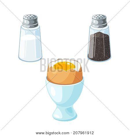 Soft boiled egg in eggshell in egg holder. Pair of transparent glass shaker salt and pepper. Vector illustration cartoon flat icon isolated on white.