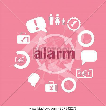 Text Alarm. Security Concept . Icons Set. Flat Pictogram. Sign And Symbols For Business, Finance, Sh
