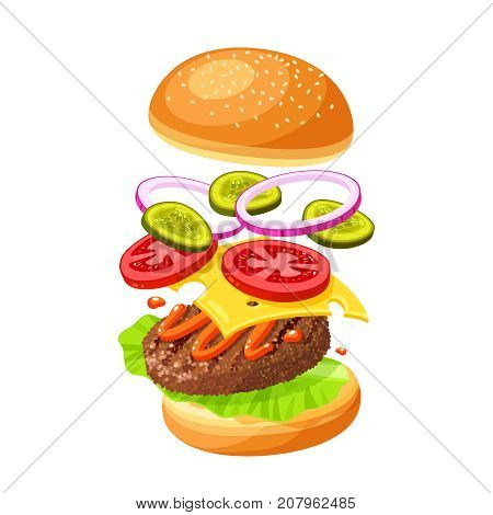 Hamburger cooking. Set of ingredients for burger . Sliced veggies bun cutlet sauce. Vector illustration cartoon flat icon collection isolated on white.