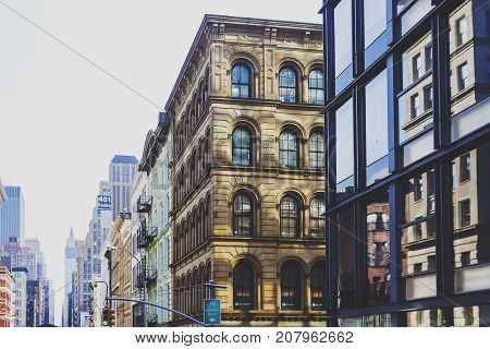 NEW YORK NEW YORK - September 4th 2017: Architecture and beautiful buildings along Broadway in Manhattan New York on a sunny late summer day