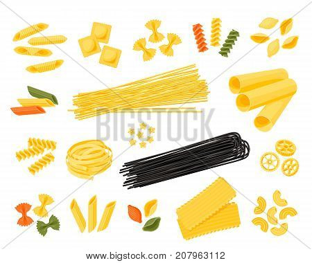 Italian cuisine. Set of assorted types of pasta: spaghetti cannelloni farfalle tagliatelle and other different colors. Vector illustration cartoon flat icon collection isolated on white.