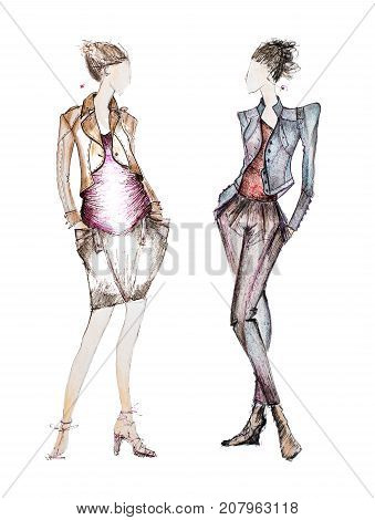 Photo of professional fashion designer sketches isolated on white background