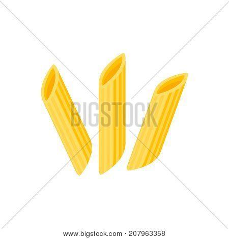 Italian cuisine. Pasta penne maltagliati spole mostaccioli. Vector illustration cartoon flat icon isolated on white.