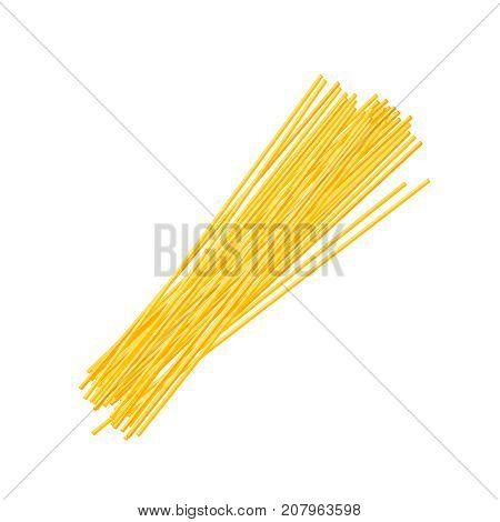 Italian cuisine. Pasta spaghetti. Vector illustration cartoon flat icon isolated on white.