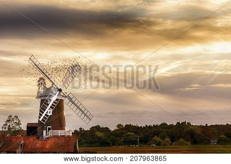 Cley Windmill is a grade II listed five storey tower mill located on the North Norfolk coast dating from the 18th century. The windmill is a five storey tower mill with four double patent sails spanning 70ft. Back in 1819 the mill originally used to be a
