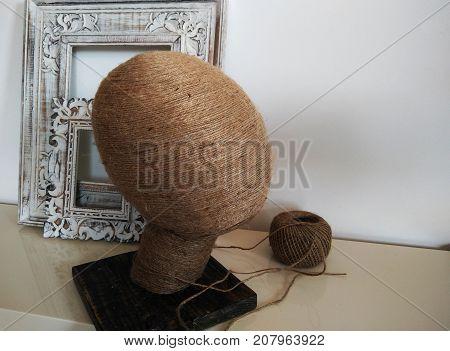 Mannequin head handmade in workshop. wooden carved frames from Bali