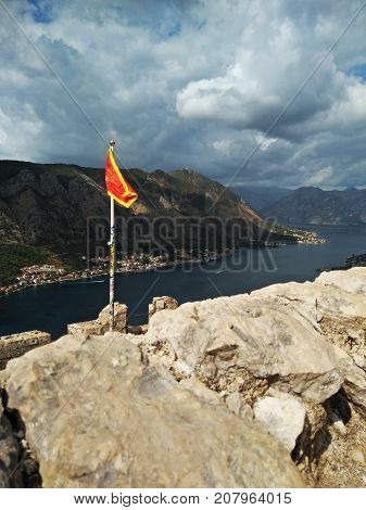 Kotor bay and Old Town from Lovcen Mountain. Montenegro. Bay of Kotor and walled old city - general view from St. John's Fortress. Fortifications of Kotor is on UNESCO World Heritage List since 1979