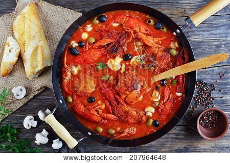 Delicious Chicken Meat Stew With Crawfishies
