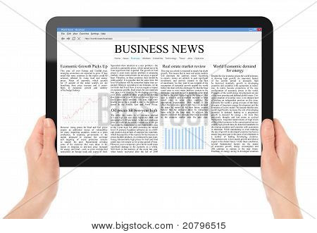 Female hands holding touch screen tablet with business news on screen. Include 2 clipping path for screen and tablet with hands. Isolated on white. XXXL size, ultra quality. poster