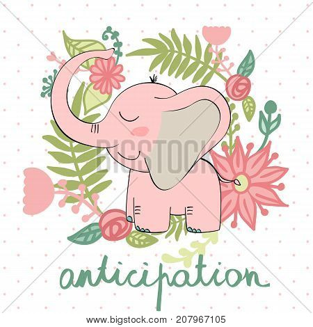 vector illustration of a cartoon happy elephant. Anticipation.