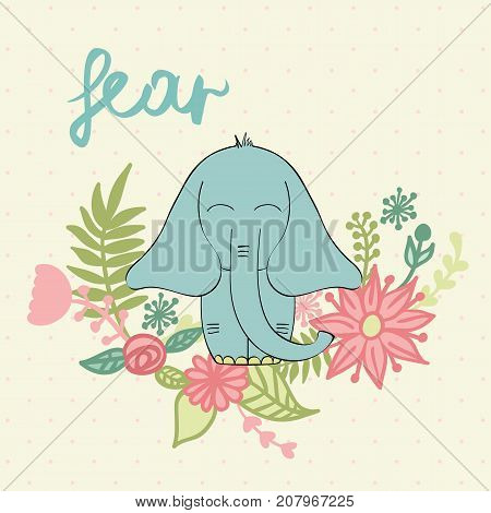 Fear. Vector illustration of a cartoon elephant