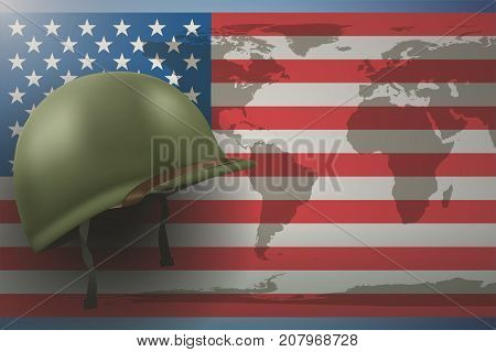 Military helmet on the background of the American flag with world map. Veterans day Poster of WWII or modern wars. Vector Illustration.