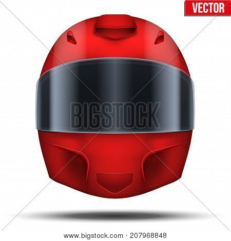 Red motor racing helmet with closed glass visor. For car and motorcycle sport. Vector Illustration isolated on white background.