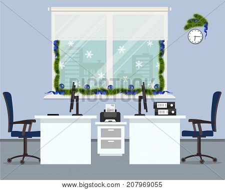 New Year in the office. Workplace for two office workers, decorated with Christmas decoration. There are white desks, blue chairs, computers and other objects in the picture. Vector illustration.