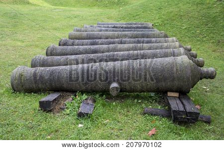 Livonia Order Castle was built in the middle of the 15th century with the old guns and cannons. Bauska Latvia
