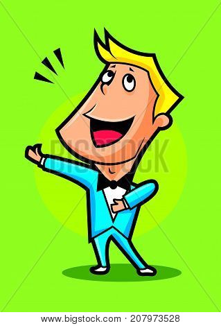 Cartoon cute singer performance classical music, mascot character illustration