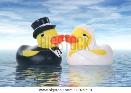 Toy duck couple getting married at a ocean wedding poster