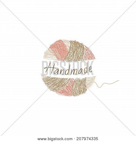 Vector logo template for wool shop. Illustration of hand drawn multicolor clew. Handmade. Hobby icon.